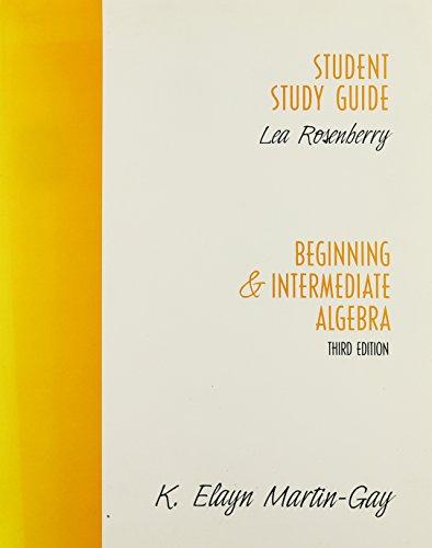 9780131858084: Supplement: Student Study Guide - Beginning and Intermediate Algebra 3/E