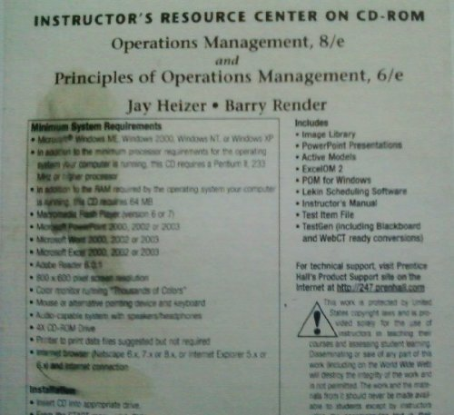 9780131858985: Instructor's Resource Center on Cd-rom,operation's Management,8/e and Principles of Operations Management.\,6/e