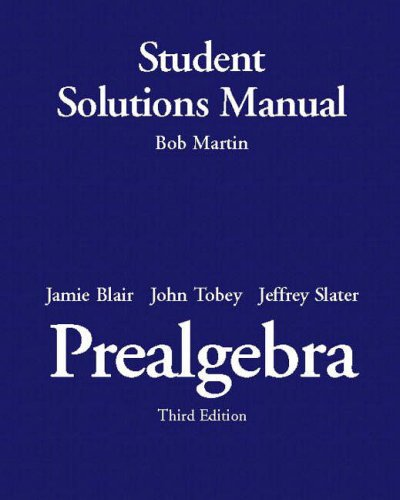9780131861244: Prealgebra: Student Solutions Manual