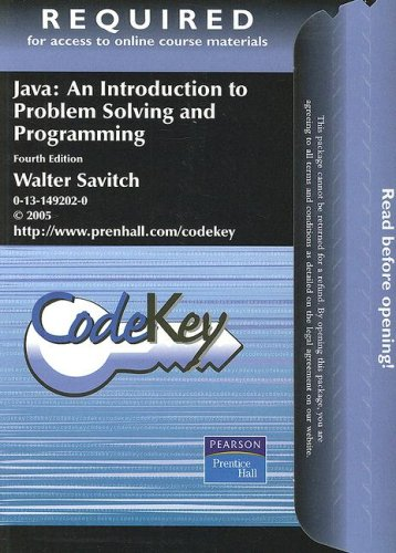 9780131866898: Java Student Access Code: An Introduction to Problem Solving and Programming (CodeKey)