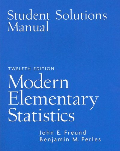 9780131874428: Student Solutions Manual for Modern Elementary Statistics