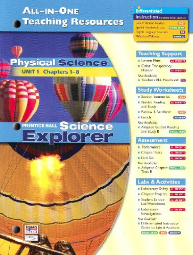 9780131903296: All-in-one Teaching Resources: Physical Science Unit 1 (Science Explorers, Chapters 1-8)