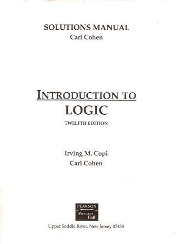 9780131913004: Solutions Manual for Introduction to Logic