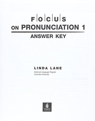 9780131917828: Focus on Pronunciation: Answer Key and Audio Script Pt.1