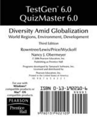 9780131922105: TestGen 6.0 Quizmaster 6.0 for Diversity Amid Globalization Third Edition