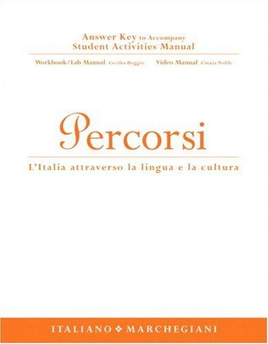 9780131937918: Answer Key to Student Activity Manual for Percorsi: l'Italia attraverso la lingua e la cultura