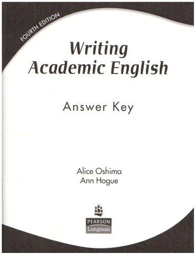 9780131947016: Writing Academic English: Answer Key
