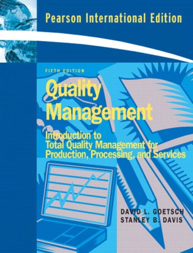 9780131971349: Quality Management: Introduction to Total Quality Management for Production, Processing, and Services