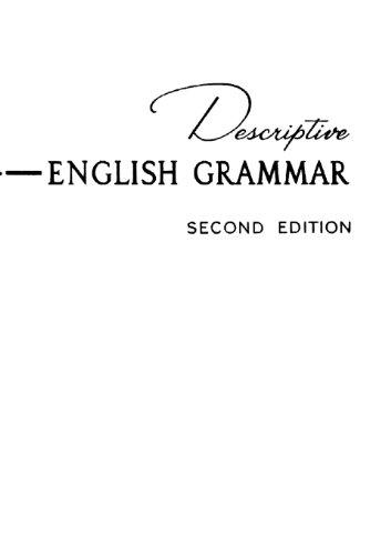 Descriptive English Grammar, 2nd Edition: Harman, Susan Emolyn,House,