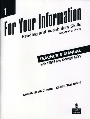 9780131991859: For Your Information 1: v. 1: Reading and Vocabulary Skills Teacher's Manual/Tests/Answer Key