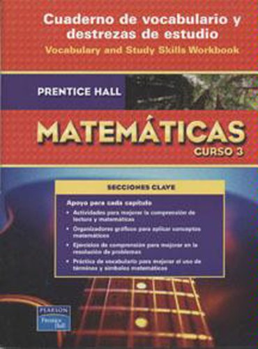 9780132014427: PRENTICE HALL MATH COURSE 3 SPANISH VOCABULARY WORKBOOK 2007C