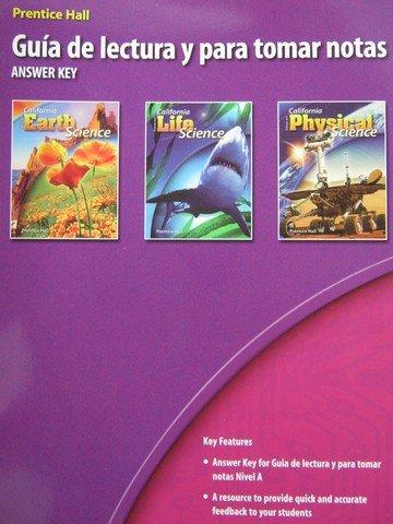 9780132034500: Prentice Hall Guia de lectura y para tomar notas (California Science Explorer, Answer Key)
