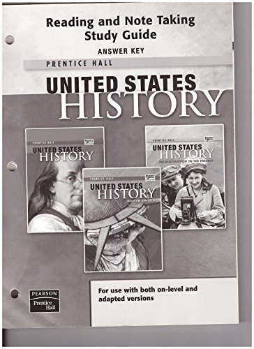 9780132036979: United States History Reading and Note Taking Study Guide Answer Key