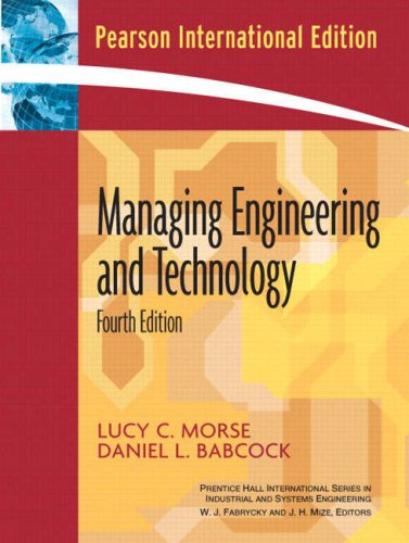 9780132050265: Managing Engineering and Technology: An Introduction to Management for Engineers