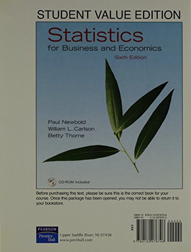 Statistics for Business and Economics, Student Value
