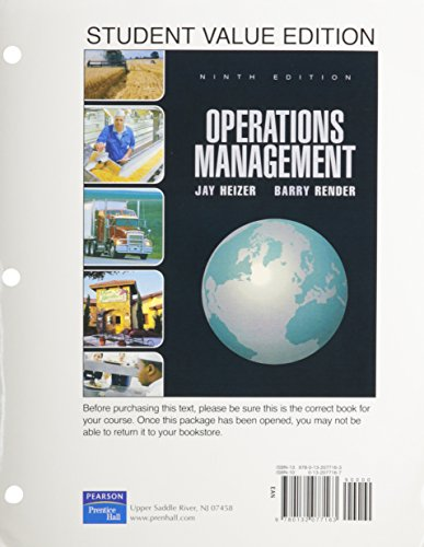 9780132077163: Operations Management, Student Value Edition (9th Edition)