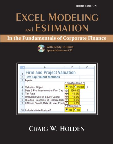 9780132079891: Excel Modeling and Estimation in the Fundamentals of Corporation Finance