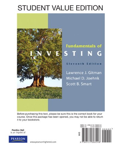 9780132109338: Fundamentals of Investing, Student Value Edition PLUS MyFinanceLab Package (11th Edition)
