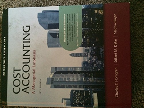 9780132109963: Cost Accounting: A Managerial Emphasis (Instructor's Review Copy