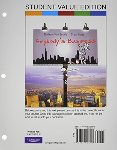 9780132128308: Anybody's Business, Student Value Edition