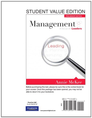 9780132128711: Management: A Focus on Leaders, Preliminary Edition, Student Value Edition