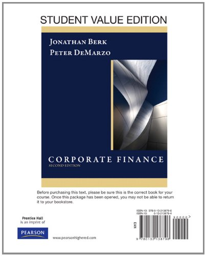 9780132138796: Corporate Finance, Student Value Edition (2nd Edition)