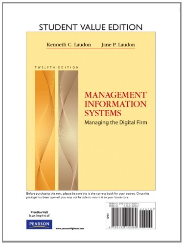 9780132142564: Management Information Systems, Student Value Edition (12th Edition)
