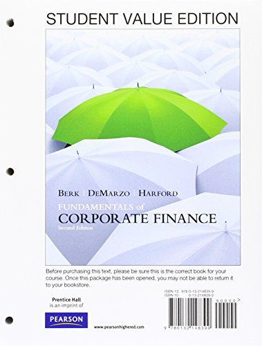 9780132148399: Fundamentals of Corporate Finance, Student Value Edition (2nd Edition)