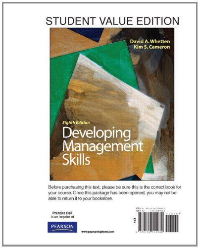 9780132154932: Developing Management Skills, Student Value Edition (8th Edition)