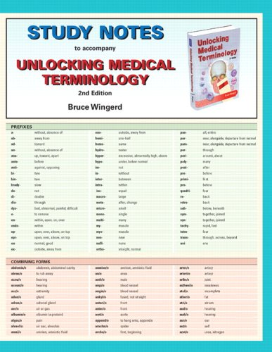 9780132159142: Study Notes for Unlocking Medical Terminology