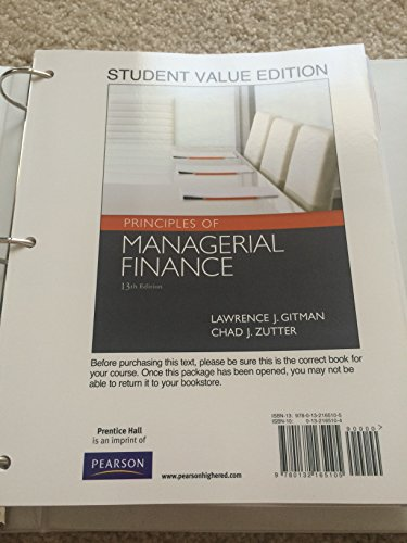 9780132165105: Principles of Managerial Finance, Student Value Edition (13th Edition) (Prentice Hall Series in Finance)