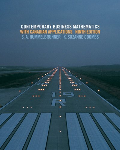 Student Solutions Manual for Contemporary Business Mathematics: Coombs, Suzanne; Hummelbrunner,