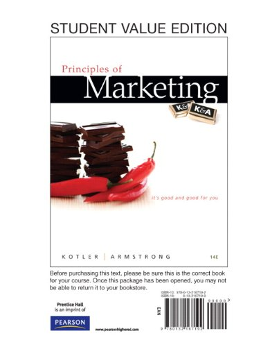 9780132167192: Principles of Marketing, Student Value Edition (14th Edition)