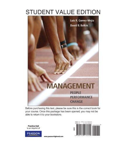 Management: People, Performance, Change: Luis R Gomez-Mejia,