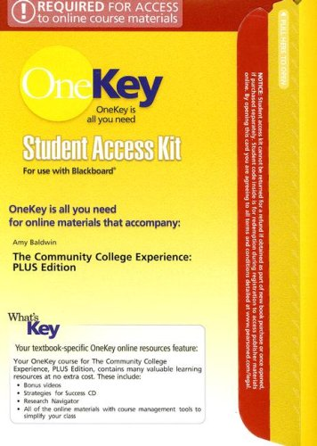 9780132216050: The OneKey Blackboard, Student Access Kit, The Community College Experience, PLUS Edition for Community College Experience