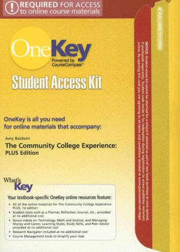 9780132216067: The OneKey CourseCompass, Student Access Kit, The Community College Experience, PLUS Edition for Community College Experience