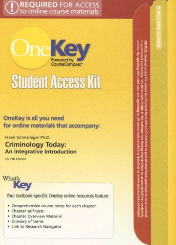 9780132226479: Criminology Today Student Access Kit: An Integrative Introduction (OneKey)