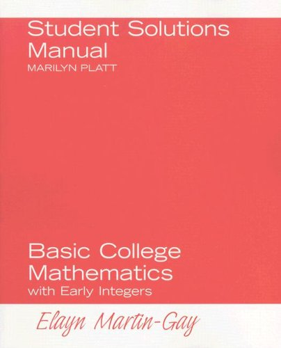 9780132227957: Student Solutions Manual for Basic College Mathematics with Early Integers