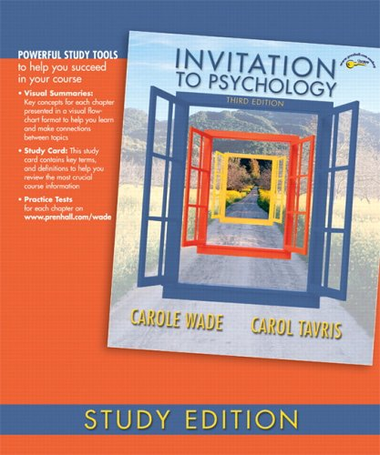 Invitation to Psychology, Study Edition (3rd Edition): Carole Wade, Carol
