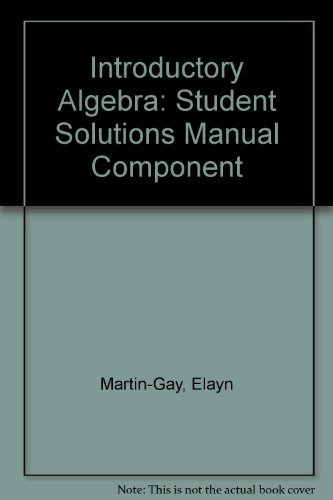 9780132276078: Introductory Algebra: Student Solutions Manual Component