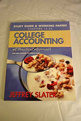 9780132286404: College Accounting: Study Guide & Working Papers, Chs. 13-25 (Chapters 13-25)