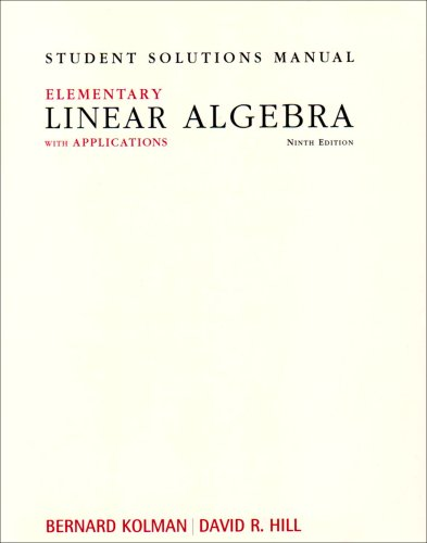9780132296564: Student Solutions Manual for Elementary Linear Algebra with Applications