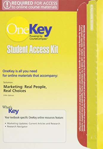 9780132299336: OneKey CourseCompass, Student Access Kit, Marketing: Real People, Real Choices