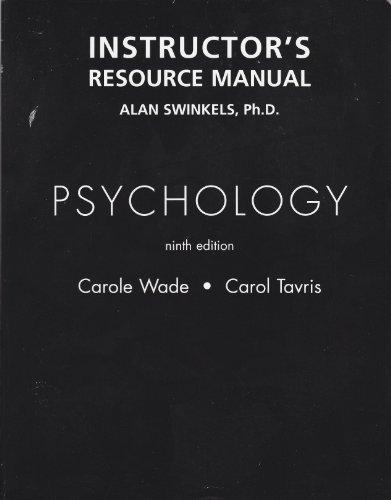 Instructor's Resource Manual, Psychology: Tavris, Carole Wade - Carol