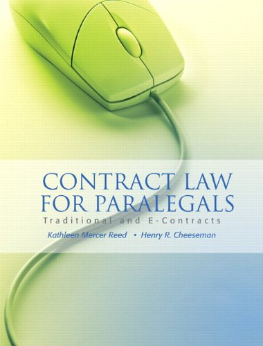 9780132358194: Contract Law for Paralegals: Traditional and E-Contracts