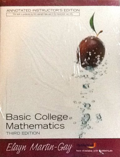 9780132368773: Basic College Mathematics Third Annotated Instructor's Edition: Book and CD Lecture Pack