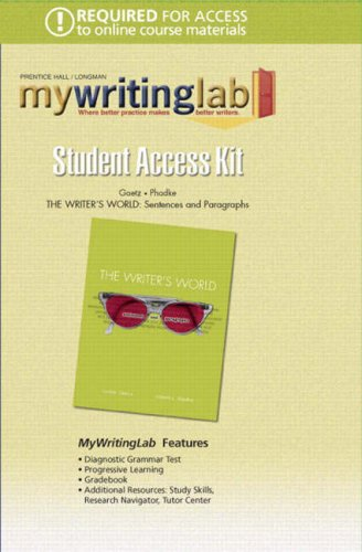 Mywritinglab: The Writer's World Student Access Kit: Sentences & Paragraphs (Mywritinglab (Access Codes)) (9780132382106) by [???]