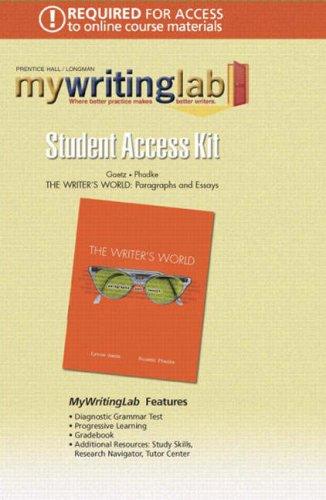 9780132396653: Writers World: Paragraphs & Essays