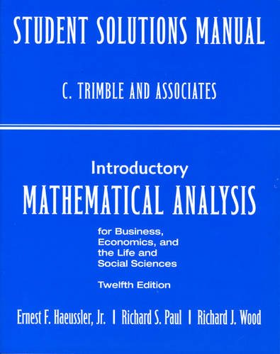 Student's Solutions Manual for Introductory Mathematical Analysis: R.J. F Wood