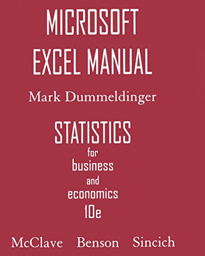 9780132409421: Microsoft Excel Manual for Statistics for Business & Economics
